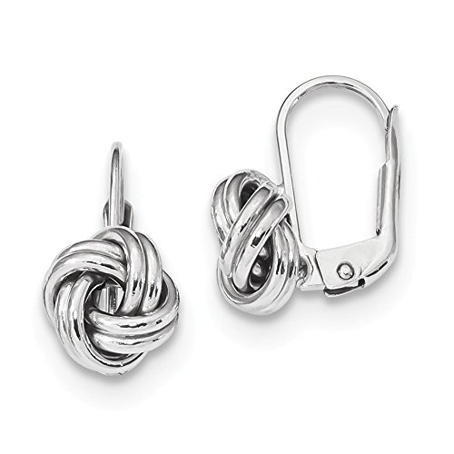 14k White Gold Love Knot Leverback Earrings Lever Back Drop Dangle Fine Jewelry Gifts For Women For Her