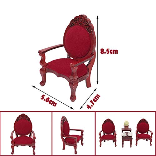 Karooch 1:12 Mini Dollhouse Furniture Accessory Wooden High Back Chair Mahogany Color Chair Dining Room Dinette Table Chair Toy for Home House Decoration Ornamental ()