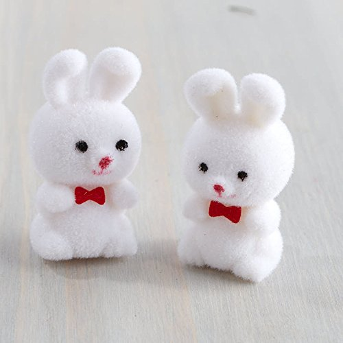 Factory Direct Craft Sweet Fuzzy Flocked Miniature White Bunnnies for Easter and Spring Decor - 12 Bunnies