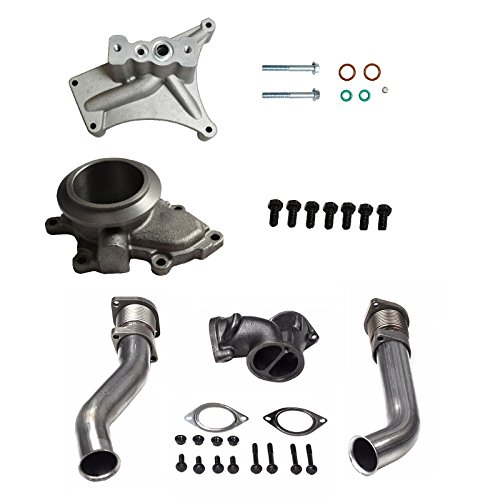 yjracing Bellowed Up Pipes, Exhaust Housing & Turbo Pedestal Kit Fit for 99.5-03 Ford 7.3 Powerstroke Diesel