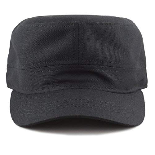 The Hat Depot Made in USA Cotton Twill Military Caps Cadet Army Caps (Black)