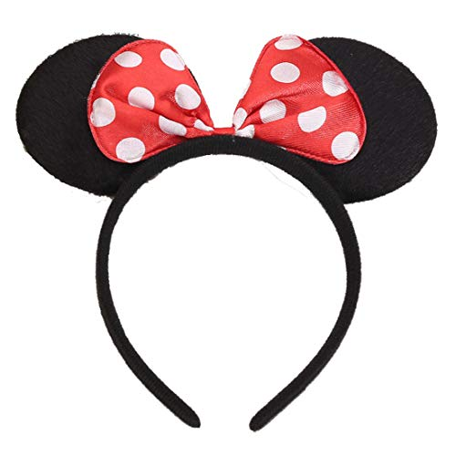 NiuZaiz 1pc Mickey Minnie Mouse Ears Costume Deluxe Fabric Headband with White Polka Dot Red Bow Party Decorations (Red)]()
