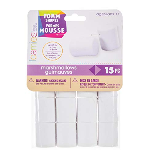 Bulk Buy: Darice Foamies 3-D Shapes Marshmallow White 25 x 30mm 15 pieces (3-Pack) -