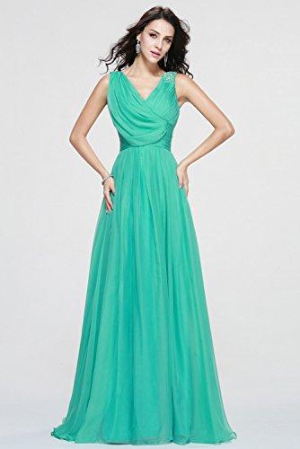 Mousseline De Soie De Femmes Dys 2016 Robe De Soirée Longue Robes De Bal V-cou Vert