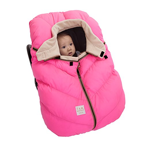 7AM Enfant Car Seat Cocoon: Infant Car Seat Cover Micro-Fleece Lined with an Elasticized Base, Neon Pink by 7AM Enfant