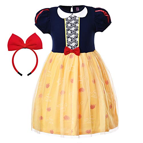 Princess Snow White Costume Dresses Dress Up Clothes Nightgown Skirts with Red Headband for Little Toddler Girls Cosplay Birthday Party 3t 4t S(4) 3-4 Years -