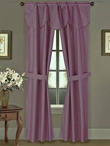 GorgeousHomeLinen 5 PC Plum Purple 54″ W X 63″ L Rod Pocket Faux Silk Drape Blackout Window Curtains, Attached Fringe Valance & Panels