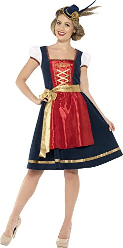 Traditional Womens Costumes (Smiffy's Women's Traditional Deluxe Claudia Bavarian Costume, Dress and Apron, Around the World, Serious Fun, Size 10-12, 45263)