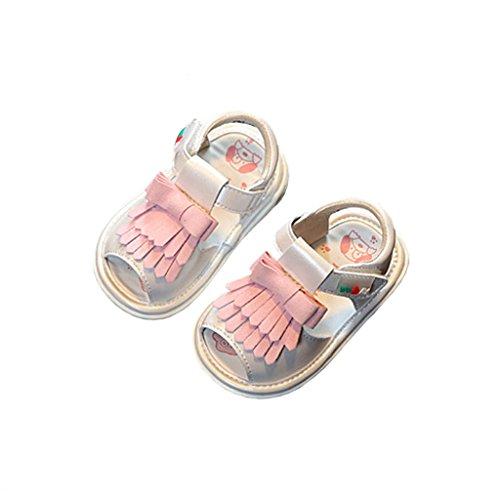fygood bebé borla suave suela de piel Para sandalias azul azul Talla:17/inner length:4.92in, 13-15months blanco