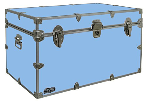 C&N Footlockers Graduate Storage Trunk - Large College Dorm Chest - Durable with Lid Stay - 32 x 18 x 18.5 Inches (Light Blue)