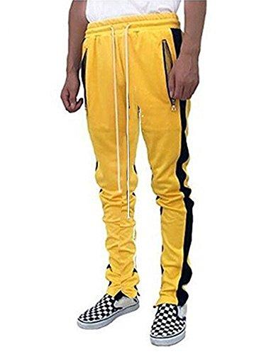 SENSERISE Mens Stretch Hip Hop Ankle Zipper Jogger Pants Side Stripe Track (Yellow Jogger)