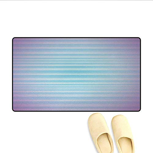 Bath Mat,Abstract Rising Colors Motif with Minimalist Effects and Striped Concept Artwork,Door Mat Small Rug,Blue Purple,Size:32