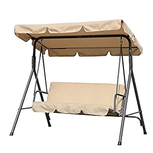 Angel Living 3 Seater Outdoor Garden Patio Swing Chair Swinging Hammock Canopy Cushioned Bench (Beige)