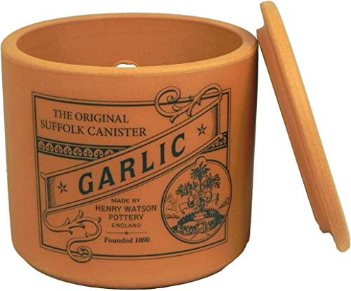 Henry Watson - Garlic Keeper - Terracotta - Made In England - 4.25 inches x 4 inches - The Suffolk Canister Collection.