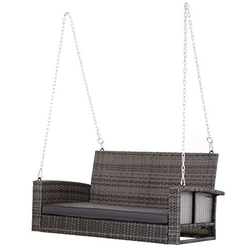 Outsunny 2-Person Wicker Hanging Porch Swing Bench Outdoor Chair with Cushions, Grey