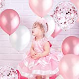 Pink and White Balloons, Pink Confetti Balloons