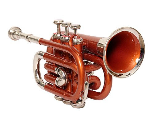 eMusicals Pocket Trumpet Bb Pitch With Free Hard Case And Mouthpiece, Blue Colored by NASIR ALI