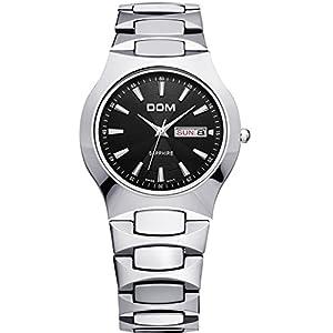 DOM Brand Men Luxury Sapphire Silver Tungsten Carbide Analog Quartz Wrist Watches