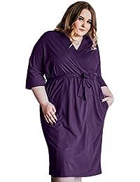 5d1d12234860 Women's Kimono Robes Cotton Lightweight Robe Long Knit Bathrobe Soft  Sleepwear V-Neck Ladies Nightwear