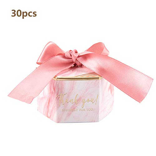 (Candy Box for Wedding Party Baby Shower, Elegant Paper Chocolate Gift Boxes with Floral&Ribbon(Pink))