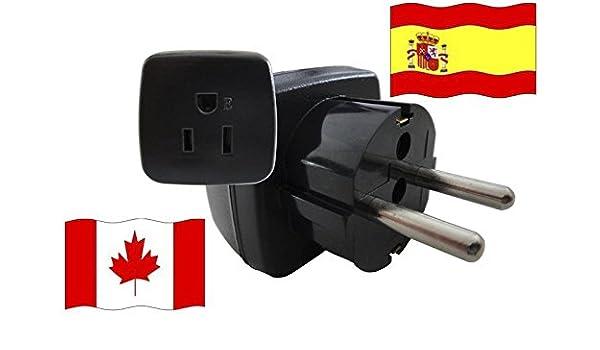 Adaptador de Viaje para España y Canadá ES/CA (Contacto de Protección, 2200 Vatios): Amazon.es: Bricolaje y herramientas