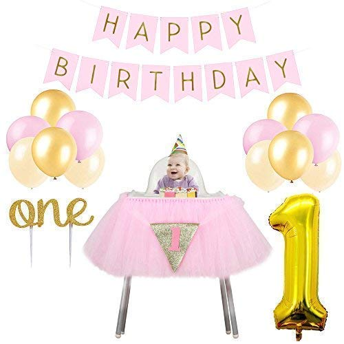 1st Birthday Party Decorations for Girls. Includes High Chair Tutu, Happy Birthday Banner, Pink, Gold and Ivory Balloons, Gold Foil 1 Balloon, First Birthday Gold Sparkle One Cake Topper
