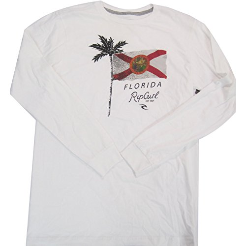 Rip Curl Men's Florida Flag Classic Long Sleeve, White,