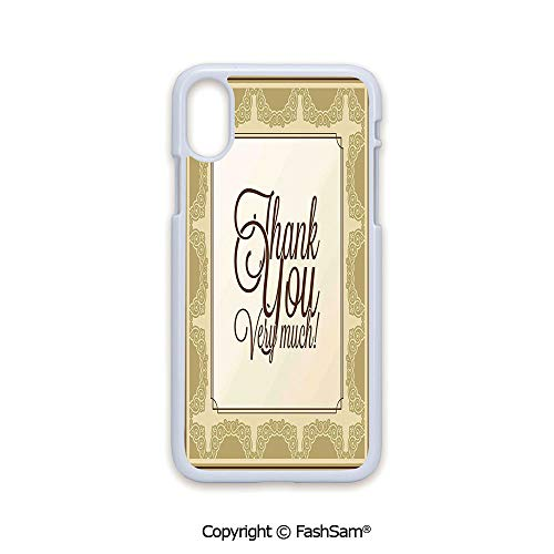 Plastic Rigid Mobile Phone case Compatible with iPhone X Black Edge Classical Victorian Decorative Swirls and Ornaments Border with Framework Print 2D Print Hard Plastic Phone ()