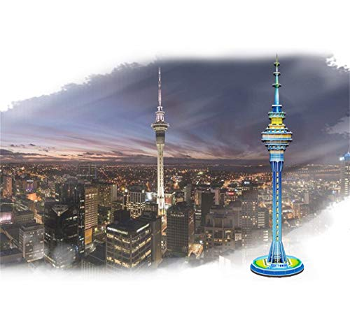 World Famous Buildings-New Zealand Sky Tower 3D Model Jigsaw Puzzle Festival Birthday Gifts for Children, for Girls, for Boys, Toys for Family Games, Decoration for Children's Room (52 Piece)