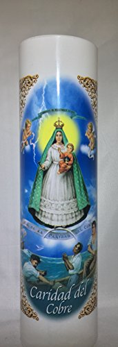 Our Lady of Charity of Cobre| Caridad del Cobre | LED Flameless Prayer  Candle with Automatic Timer | English & Spanish | 7-Day Novena Candlelight