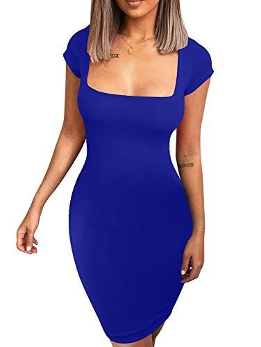 Neck Mini Square - BEAGIMEG Women's Sexy Square Neck Bodycon Elegant Short Mini Party Dress Royal Blue