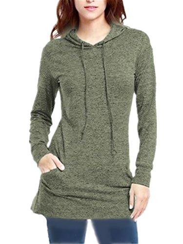 Green Con Casual Tasche Moda Colore Corda Elegante Donna Tirare Sweater Cappuccio Pullover Hoodies Con Sportiva Sweatshirt La Kerlana Manica Lunga Puro PEqRSpw