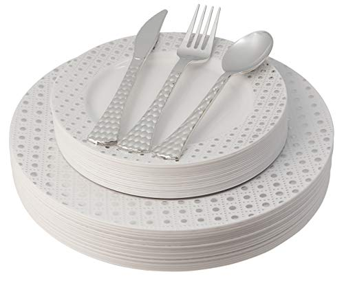 White and Silver Plastic Plates & Cutlery Set, 100 Piece Elegant Disposable Plates Plastic & Silverware Set | Includes…