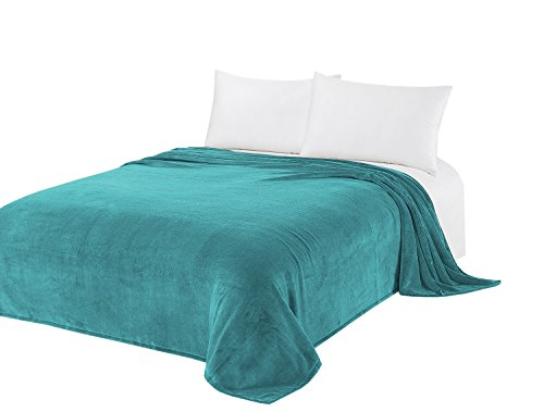 CaliTime Super Soft Throw Blanket for Bed Sofa Couch, Solid Cozy Warm Coral Fleece, Teal, King