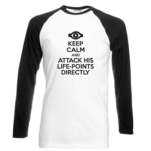 Brand88 Keep Calm and Attack His Life-Points Directly, Langarm Baseball T- Shirt: Amazon.de: Bekleidung