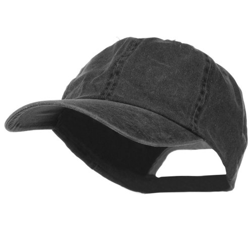 New Big Size Washed Cotton Ball Cap - Black (For Big (Big Head Hat)