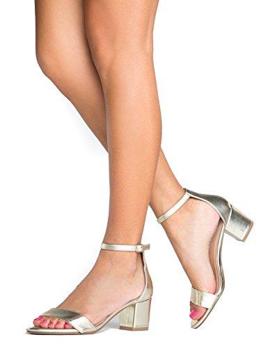 Adams Heel Heel Ankle J Strap Block Low Daisy Kitten Pu Gold Adorable 7IqI8d