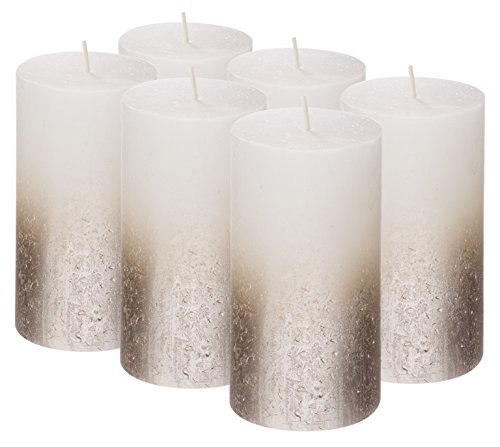 BOLSIUS Rustic Set of 6 Pillar Candles - 5 x2.75 Inches Metallic Unscented Candles - White Candles with Silver Coated Bottom - Nice Candles - Pillar Candles - Home & Party Decorations