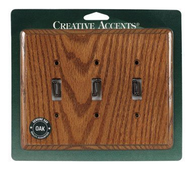 Creative Accents Toggle Wall Plate Red Oak Contemporary 3 Gang Ul Carded by Jackson Deerfield Mfg. (Wall Plate Type Toggle)