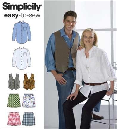 Simplicity Patrón 7329 AA niños, Hombre y Mujer Camisa ...