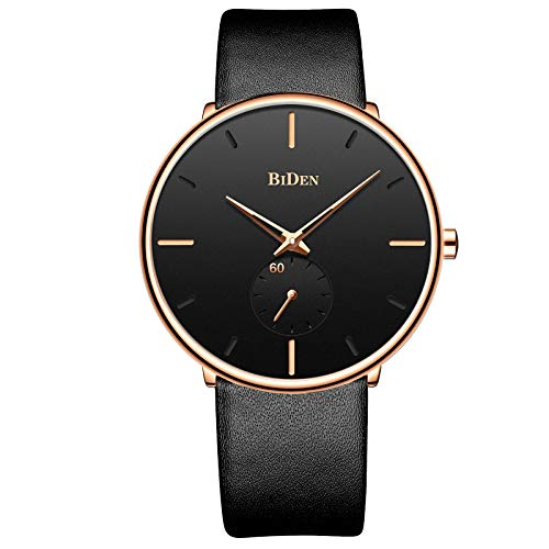 Mens Ultra-Thin Quartz Analog Wrist Watch 30M Waterproof Fashion Minimalist with Leather Band - Gold Black ()