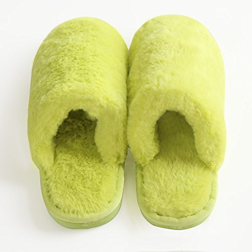 Inverno fankou Cartoon carino fondo spesso impermeabile avvolgere con del cotone pantofole antiscivolo indoor home paio di pantofole, 36/37 , verde