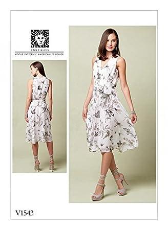 Vogue Damen Schnittmuster 1543 gefüttert Kleid V-Ausschnitt & selbst ...
