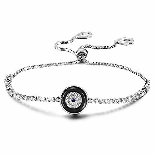 - Wistic Hamsa Evil Eye Adjustable Bracelet Kabbalah Silver String Bracelet for Women Men Girls Boys (Silver Evil Eye)