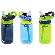 Contigo Kids Autospout Gizmo Water Bottles, 14oz (Nautical, School Boy, Granny Smith)