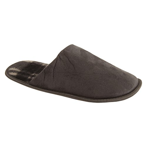 Universal Textiles Mens Check Lined Slip-On Slippers Grey ceBTKoif