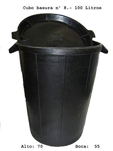 Fiel Kanguro 10010027 - Cubo basura sin tapa, 100 Litros, Nº 8, negro Nº 8 M87041