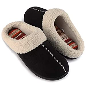 ULTRAIDEAS Women's Comfort Memory Foam Slippers with Warm Fleece Lining and Wool-Like Collar, Casual Micro Suede Slip on Clog Mule House Shoes with Indoor Outdoor Anti-Skid Hard Rubber Sole