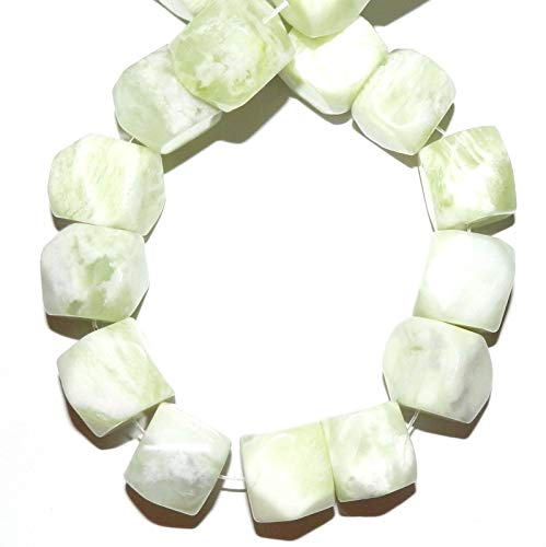 (Sea Green New Jade 20mm Faceted Nugget Cube Serpentine Gemstone Beads 15#ID-5715 )