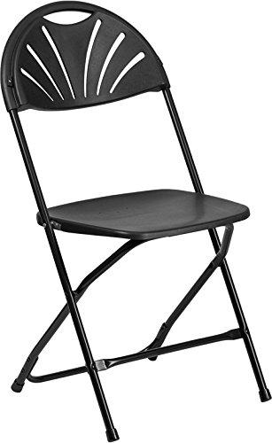Emma + Oliver 650 lb. Capacity Black Plastic Fan Back Folding Chair ()